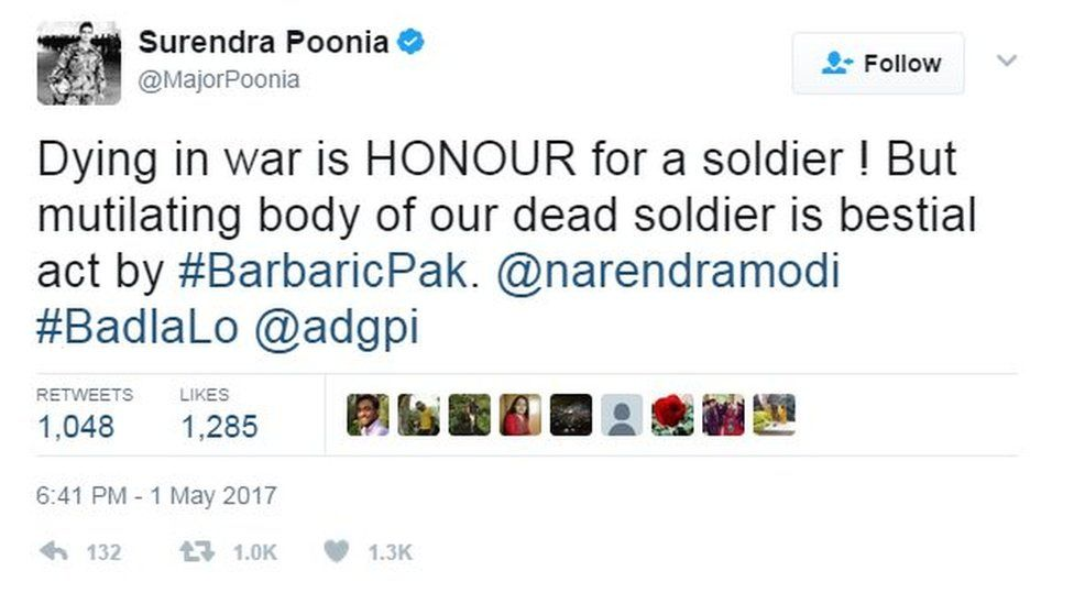 Dying in war is HONOUR for a soldier ! But mutilating body of our dead soldier is bestial act by #BarbaricPak. @narendramodi #BadlaLo @adgpi