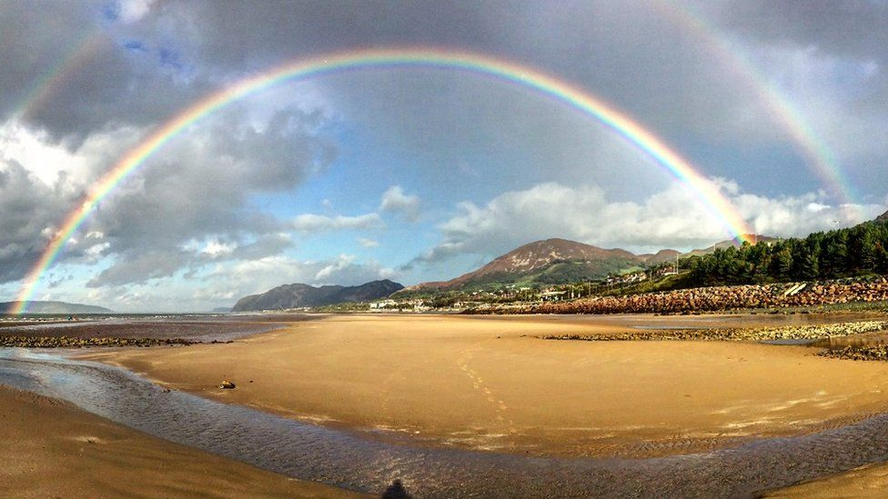 Pamela Hughes captured two rainbows at Penmaenmawr beach, Conwy county