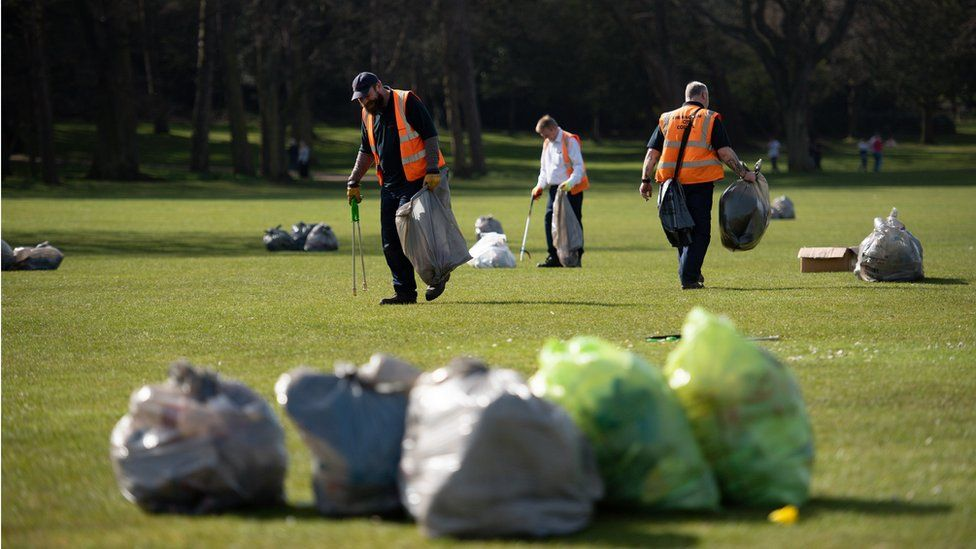 Council workers clearing up in Cannon Hill Park, Birmingham,
