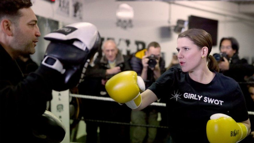 Jo Swinson during visit to gym in north London