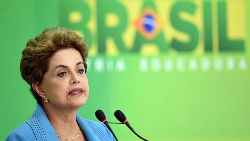 Brazilian President Dilma Rousseff speaks during a press conference at Planalto Palace in Brasilia on April 18, 2016.
