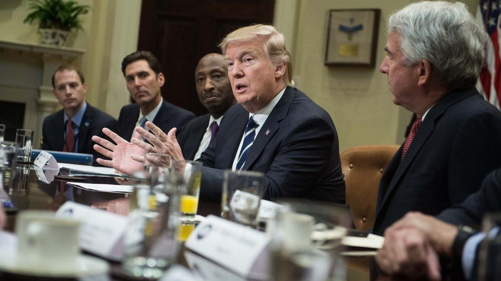 US President Donald Trump meets with the pharmaceutical industry