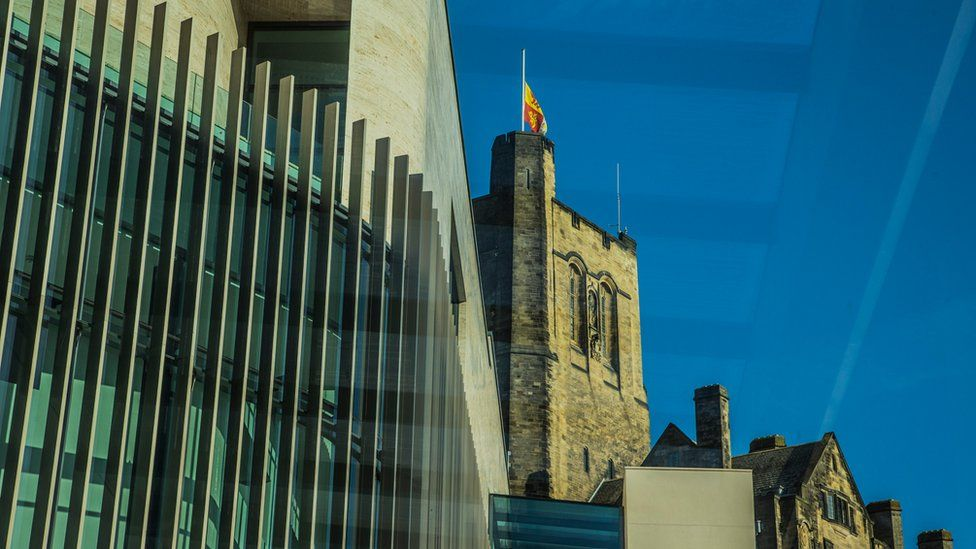 Old and new - steel and glass of Pontio with views of the old college building
