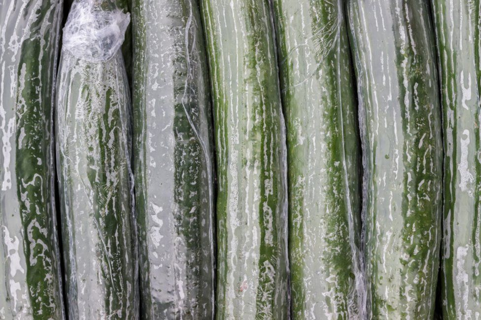 Shrink-wrapped cucumber