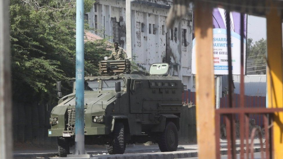 An armoured vehicle in Mogadishu, Somalia - 19 February 2021