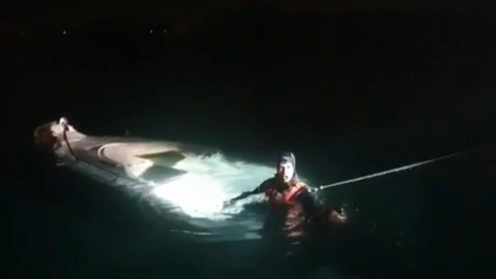 Picture of the rescue mission released by the Turkish Coast Guard