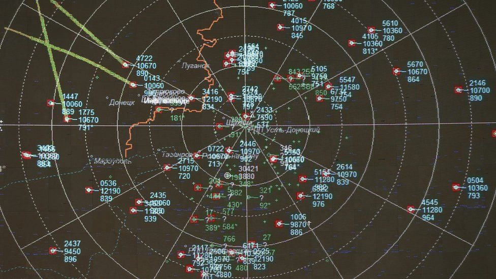 A screen shows what was described as a detailed recording from a Russian radar station located in the Rostov region (26 Sept)