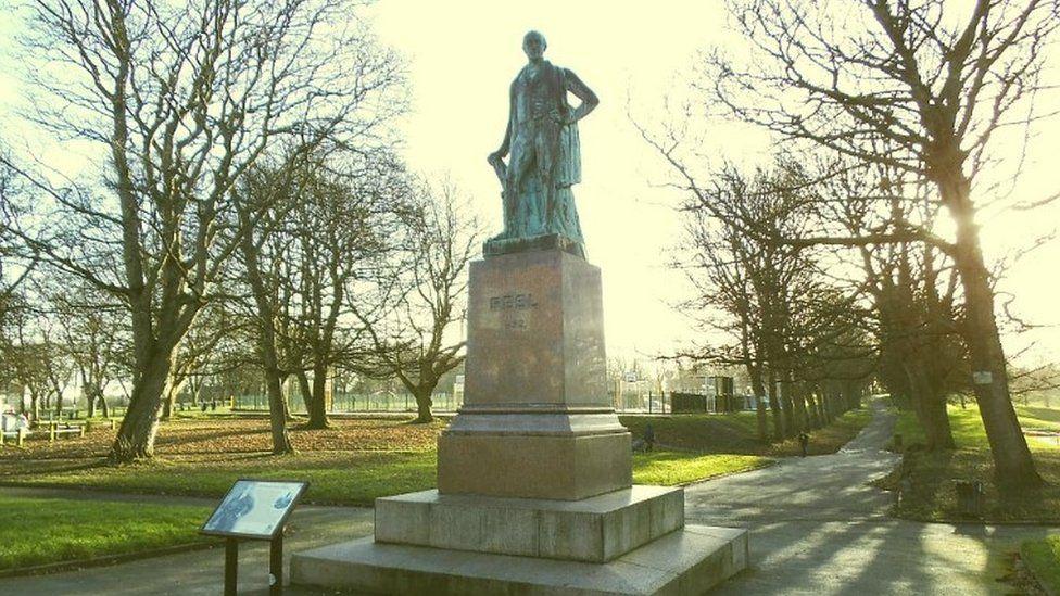 Statue of Sir Robert Peel in Woodhouse Moor, Hyde Park in Leeds