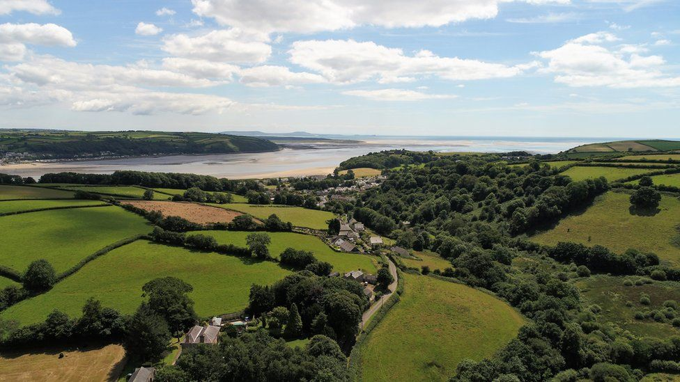 An aerial picture of Llansteffan, Carmarthenshire