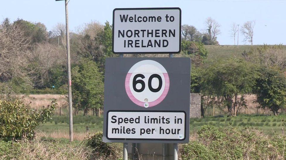 Irish border road sign