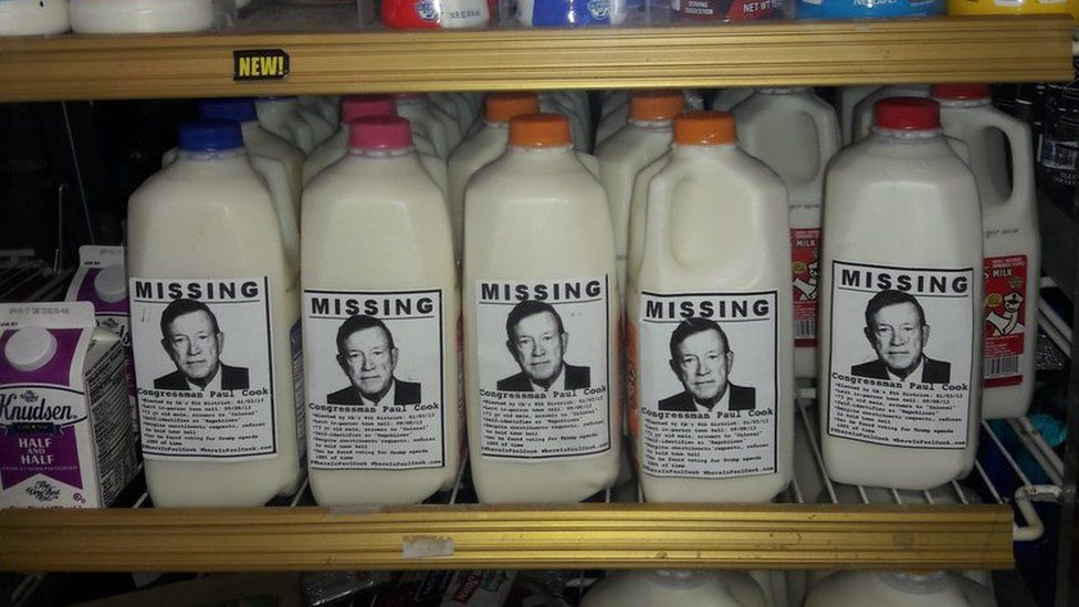 "Milk cartons with Paul Cook ""missing"" advert"