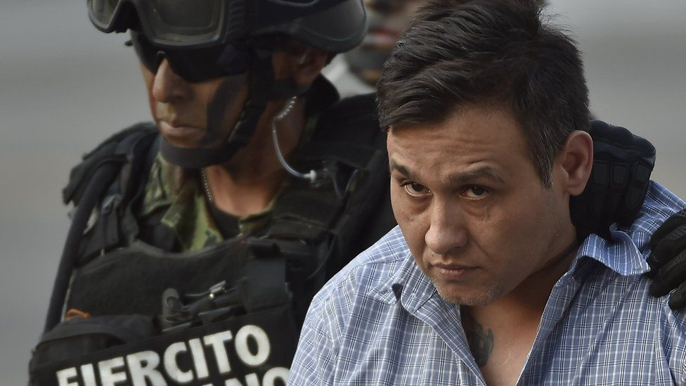 Zetas leader Omar Trevino Morales is presented to the press after being captured in 2015