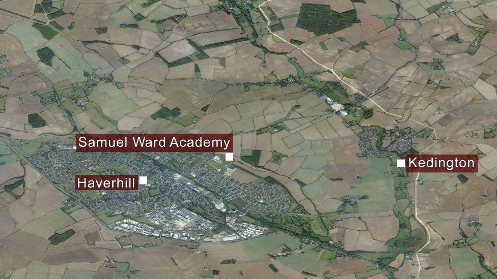 Map showing Haverhill and Kedington