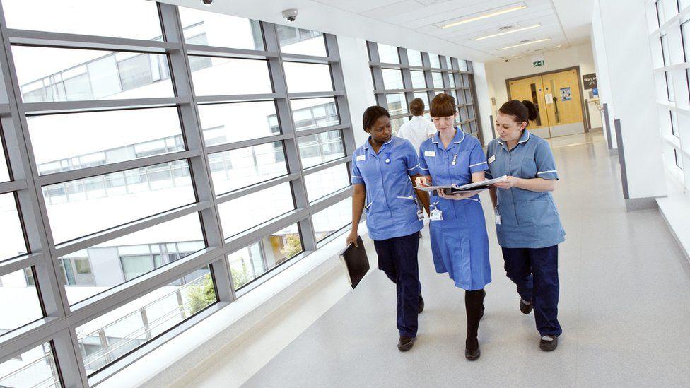 Nurses walking in a hospital