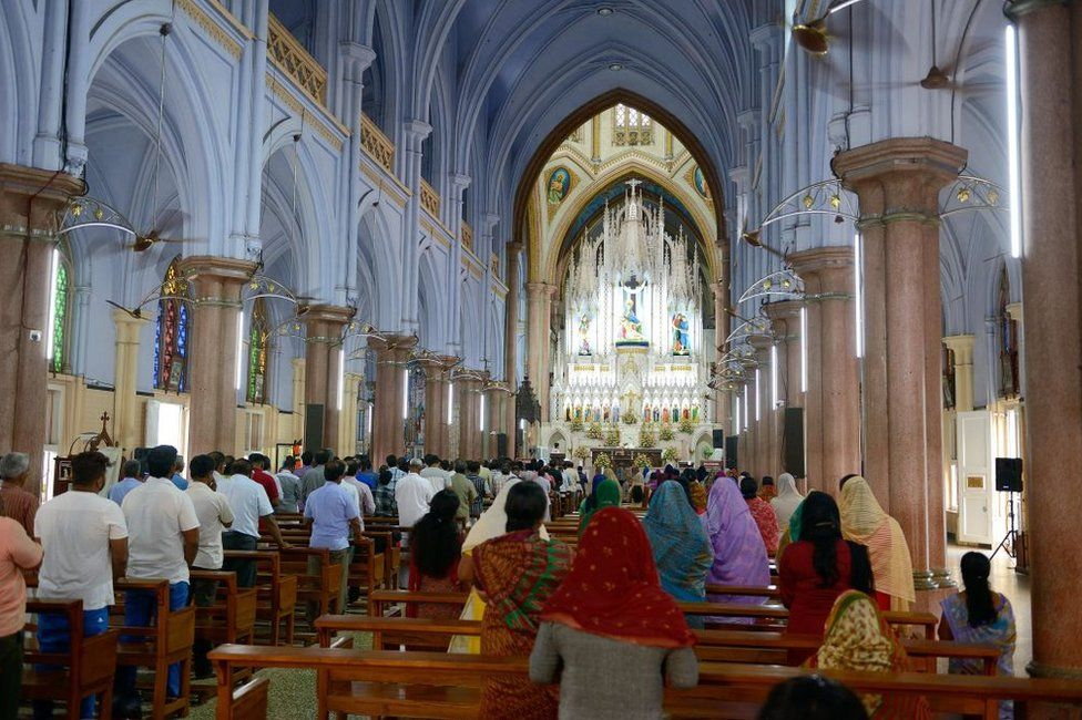 The Catholic Basilica of our Lady of Dolours in the city of Thrissur in Kerala.