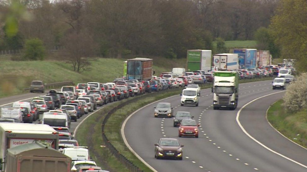 The tailbacks on the eastbound stretch of the M4 went back as far as junction 19