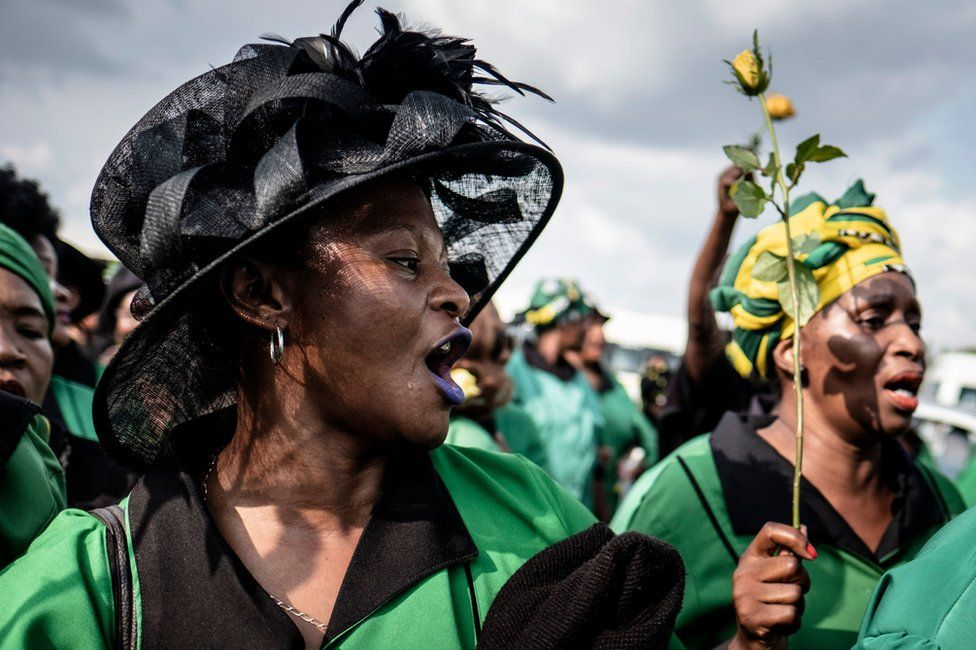 Members of the ANC Women's League march to commemorate the late South African anti-apartheid campaigner Winnie Madikizela-Mandela, ex-wife of former South African president Nelson Mandela. in Soweto, Johannesburg, on April 4, 2018.