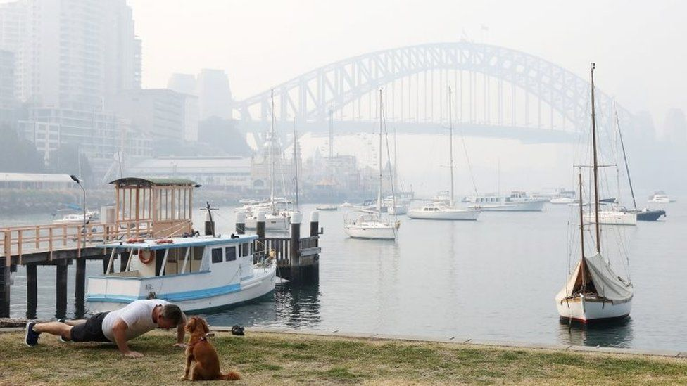 A man does push-ups next to a dog in front of the Sydney Harbour Bridge, which is obscured by thick smoke