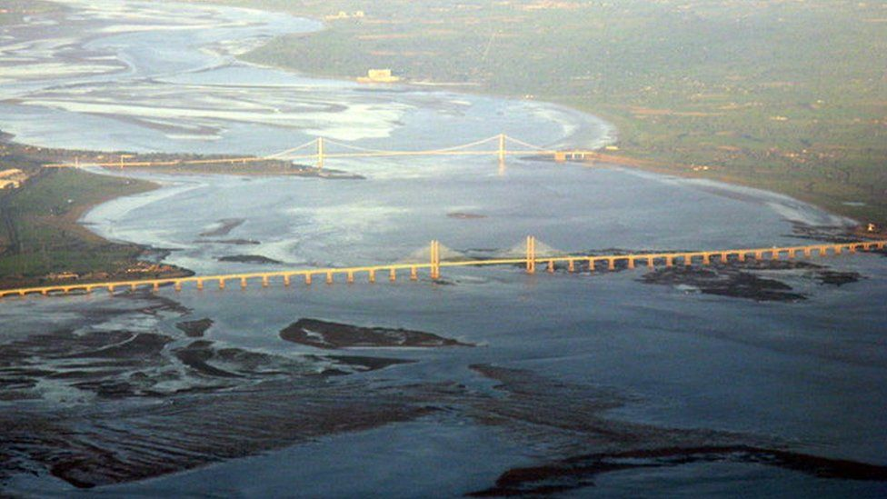 The two Severn Crossings from the air