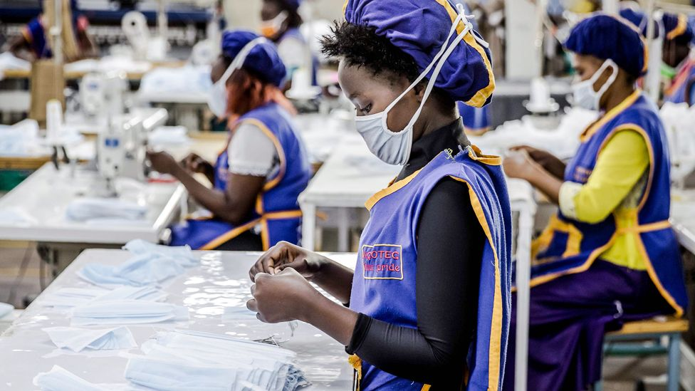 Workers producing face masks the KICOTEC factory in Kitui, Kenya - Tuesday 7 April 2020