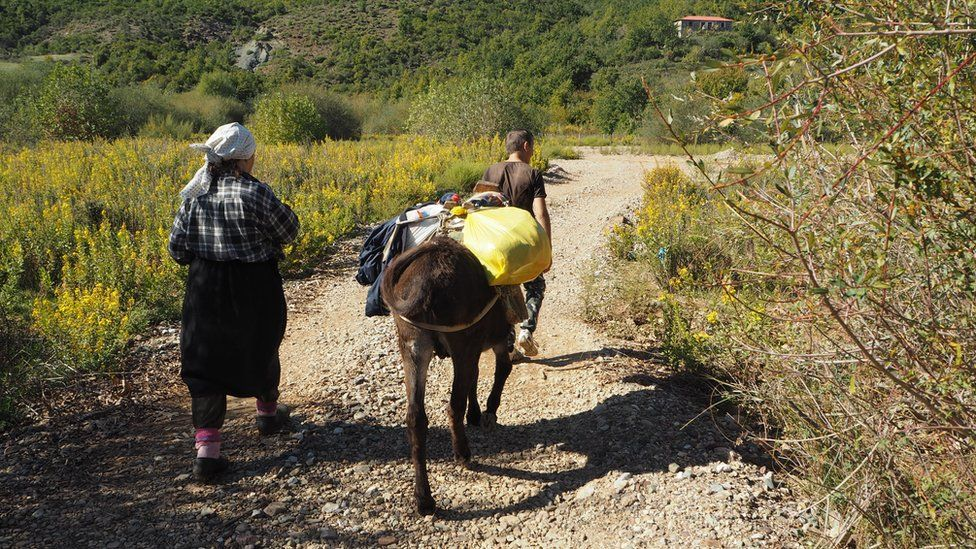 Niko's grandmother with a donkey