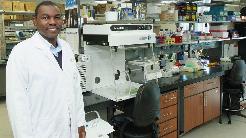 Prof Thumbi Ndung'u in his lab at K-RITH
