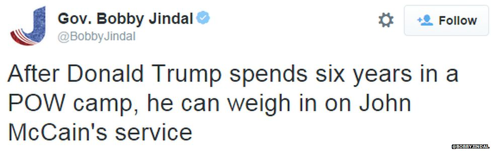 A tweet from Republican presidential candidate Bobby Jindal