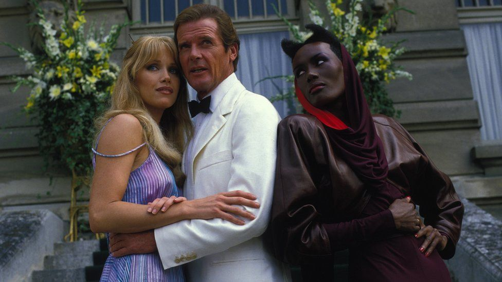 Tanya Roberts with Sir Roger Moore and Grace Jones