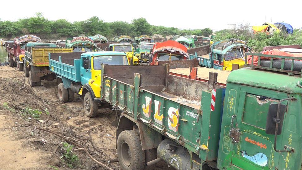 Trucks full of sand in Andhra Pradesh
