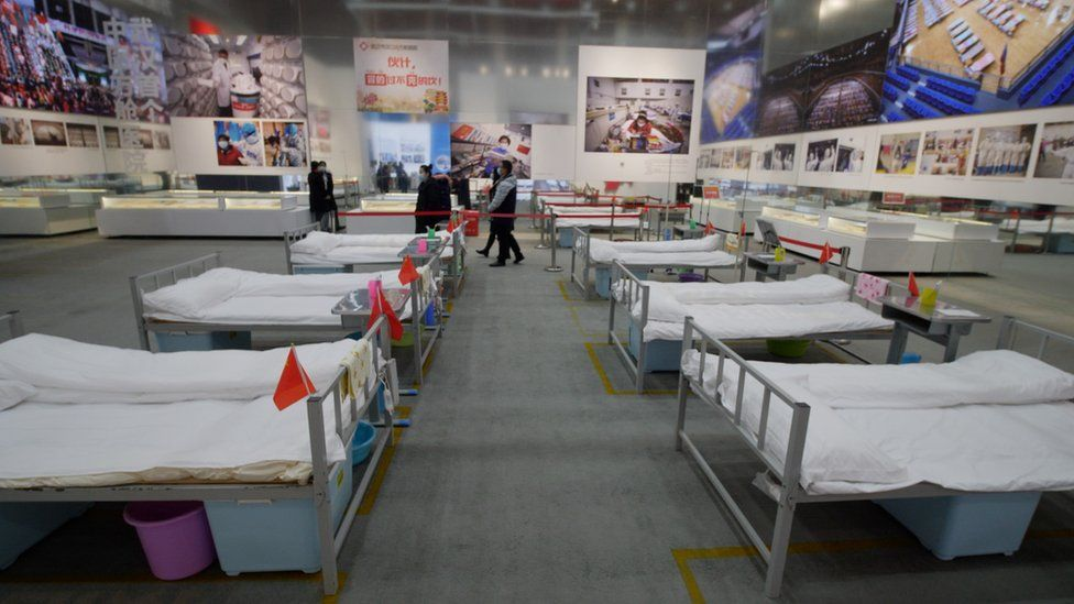 beds at the Wuhan virus exhibition