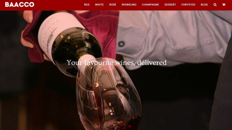 Screengrab from Baacco homepage: wine being poured into glass