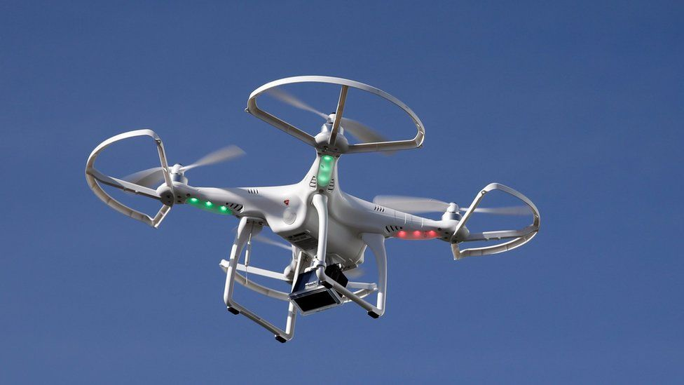 A drone flies at the International Consumer Electronics Show in Las Vegas on 8 January 2014