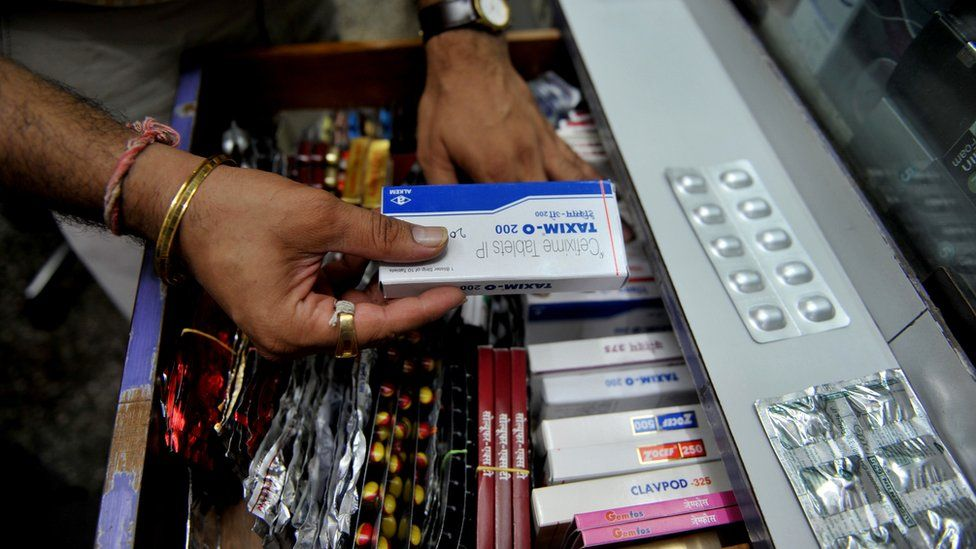 Antibiotics displayed at a chemist's shop in Mumbai