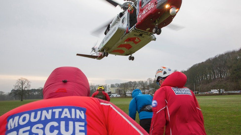 Helicopter and mountain rescue crew