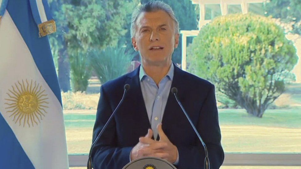 Image grab from video released by Argentina's presidency shows President Mauricio Macri speaking in Buenos Aires on August 14, 2019