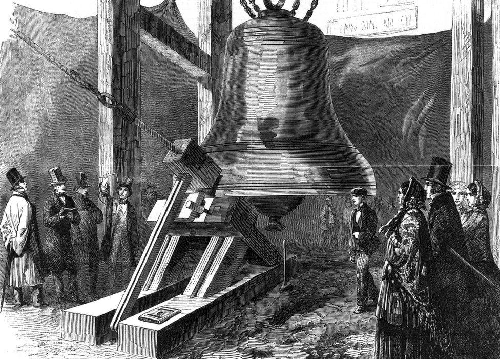 Engraving of Big Ben being tested