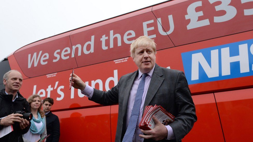 Boris Johnson in front of the Vote Leave campaign bus