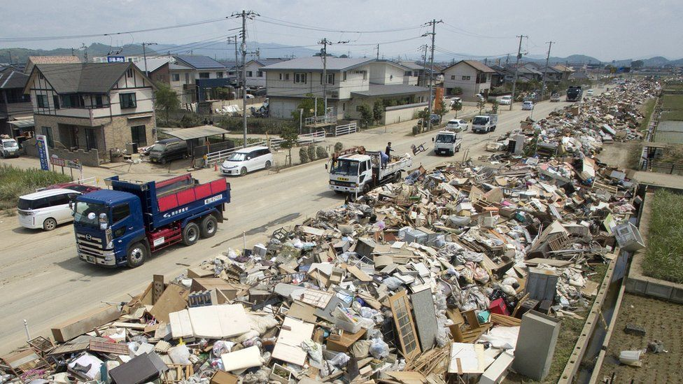 The aftermath of floods in Japan