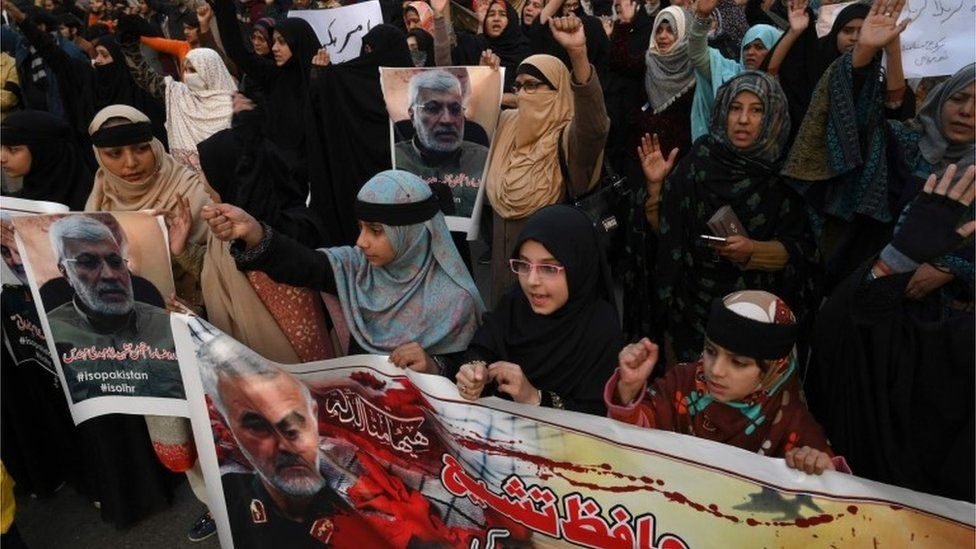 Protest in Pakistan over the killing by an American drone of the Iran's top military commander, Qasem Soleimani, 3 January 2020