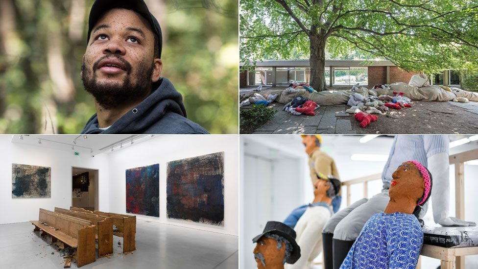 Clockwise from top left: Oscar Murillo (Jungwon Kim), Collective Conscience 2018, Oscar Murillo Zhang Enli 2019, Violent Amnesia 2019 at Kettle's Yard