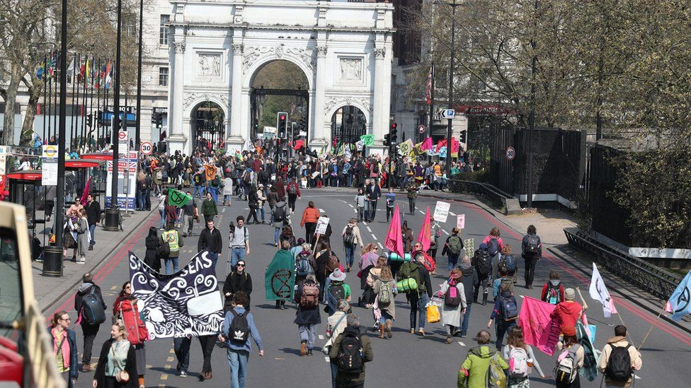 Demonstrators during a Extinction Rebellion protest at Marble Arch