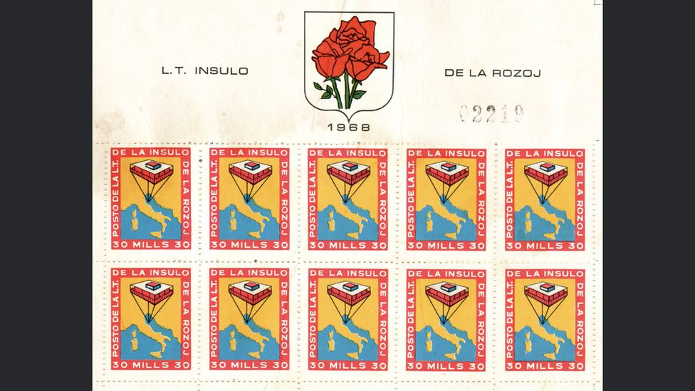 Rose Island postage stamps