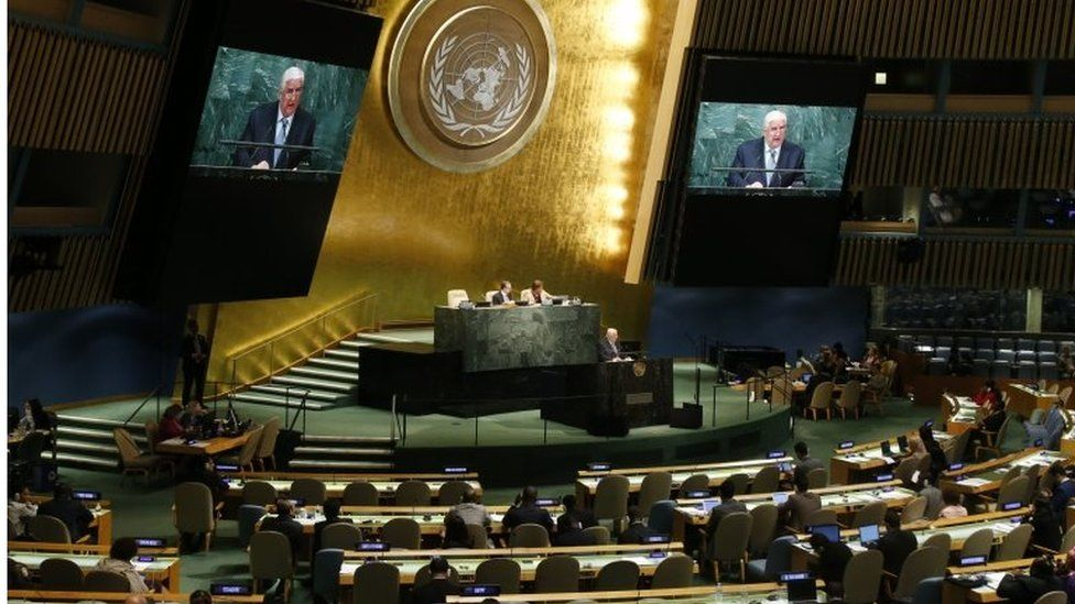 Syria's Foreign Minister Walid al-Moallem addresses the 71st session of the United Nations General Assembly at UN headquarters, on 24 September 2016.