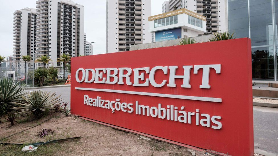 A logo of Brazilian construction company Odebrecht at the Olympic and Paralympic Village in Rio de Janeiro, Brazil