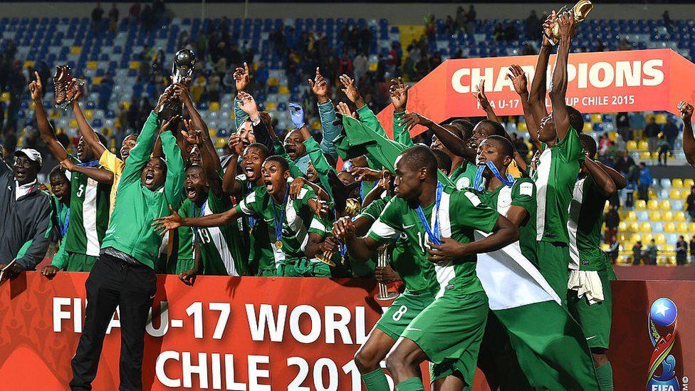 Nigeria celebrate winning Under-17s World Cup in 2015