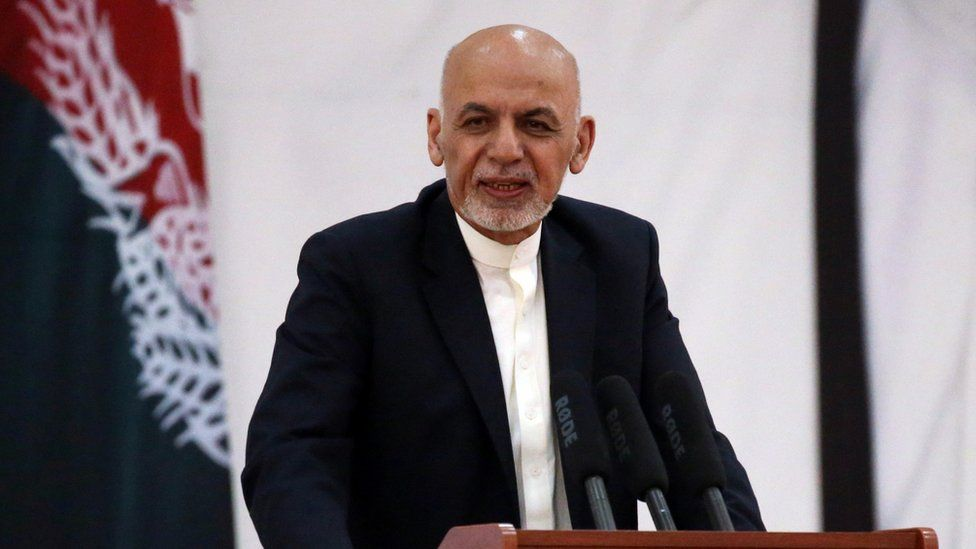 Afghanistan's President Ashraf Ghani speaks during an event with Afghan security forces in Kabul,