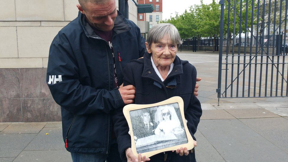 Bernard Watt's widow Teresa, and her son Sean, at the inquest into his shooting in Belfast