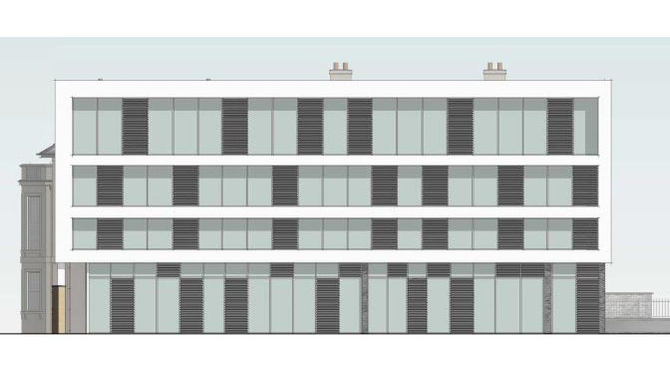 An artist's impression shows how the new building would look from Lloyd George Avenue