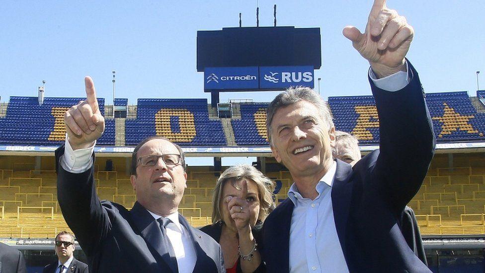 French president Francois Hollande and Mauricio Macri, of Argentina