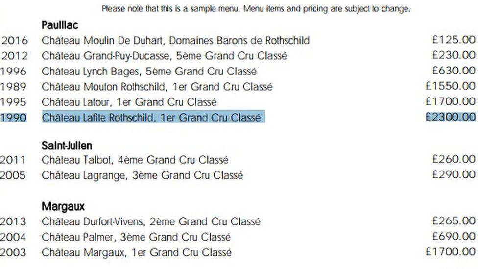 Aqua at The Shard wine list
